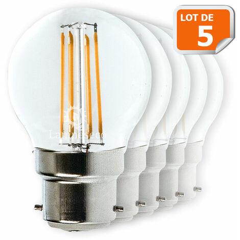 Lot de 5 Ampoules Led Filament Culot B22 forme G45 4 Watt (éq 42 watts) Blanc Chaud