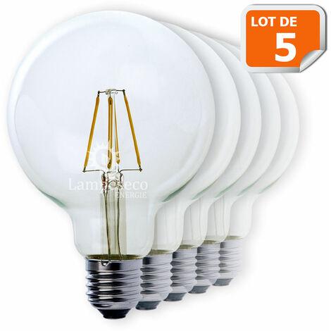 Lot de 5 Ampoules Led Filament Globe G95 Style Edison 7 watt (eq.52 watt) Culot E27