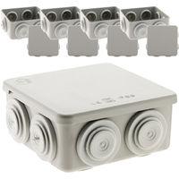 Lot de 5 boîtes de dérivation étanches IP55 carrées 80x80x36mm 7 entrées