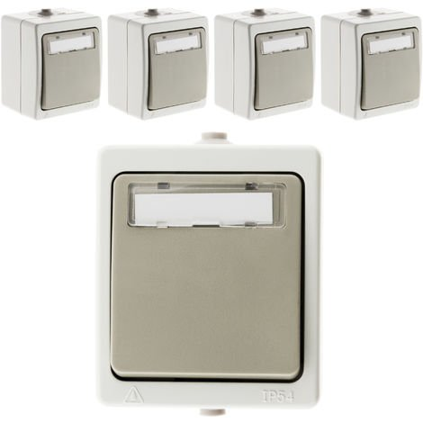 Lot de 5 boutons poussoir porte étiquette Gris Clair - IP54 - Akya