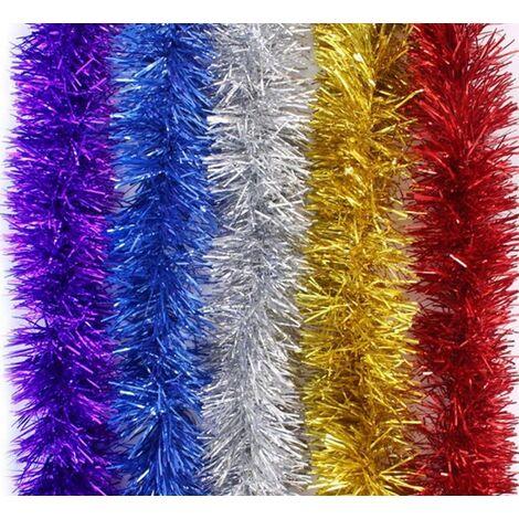 Lot de 5 Brillant Guirlandes Décoration pour Arbres de noël 2m Longue Noël de Mariage Anniversaire Fête - Multicolore