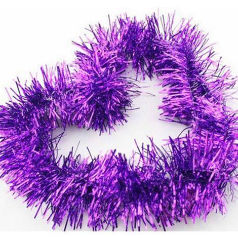 Lot de 5 Brillant Guirlandes Décoration pour Arbres de noël 2m Longue Noël de Mariage Anniversaire Fête - Violet