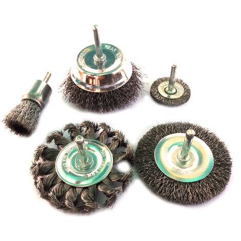Lot de 5 brosses circulaires - Tige acier dur - Brins durs - Lot de brosses