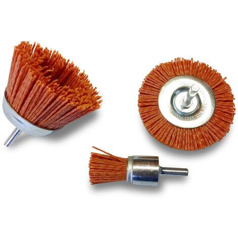 Lot de 5 brosses circulaires - Tige acier dur - Brins nylon - Lot de brosses