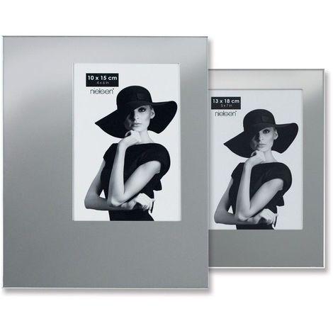 Lot de 5 cadres photo modèle asymétrique format 10 x 15 cm couleur Argent Brillant