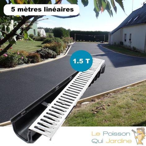 Lot de 5 : Caniveau 1 mètre 1,5 Tonnes pour drainage d'eaux usées.