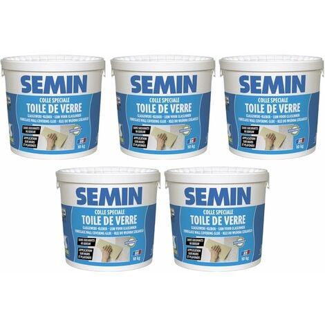 Lot de 5 colles en pâte pour toiles de verre prête à l'emploi Semin - seau de 10 kg
