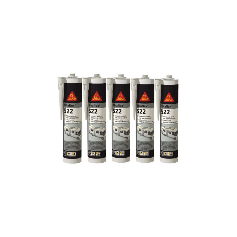Lot de 5 Colles mastic flex 522 Caravan - Blanc - 300ml - Blanc - Sika
