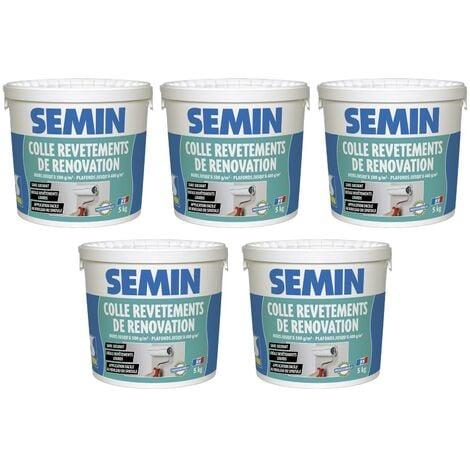 Lot de 5 colles pour revêtements de rénovation lisse en pâte Semin - prête à l'emploi - seau de 5 kg