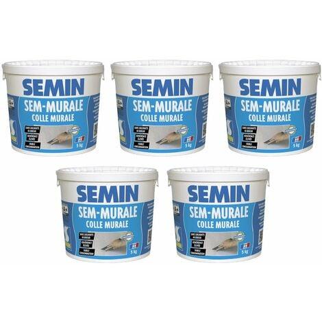 Lot de 5 colles pour toiles de verre et revêtements muraux légers en pâte Semin Sem-Murale - prête à l'emploi - seau 5 kg