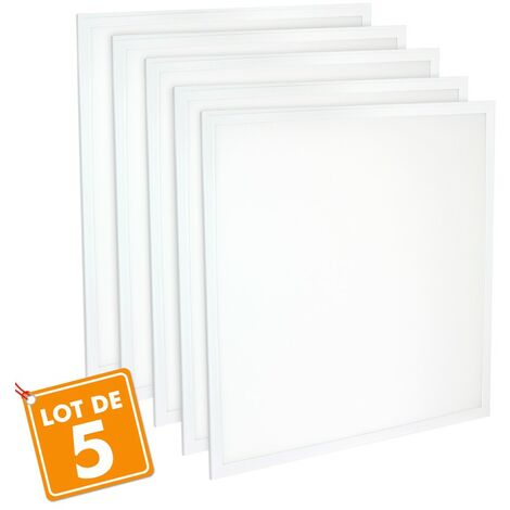 Lot de 5 Dalles 600x600 lumineuse LED PMMA Transfo sans scintillement  40W (340W)