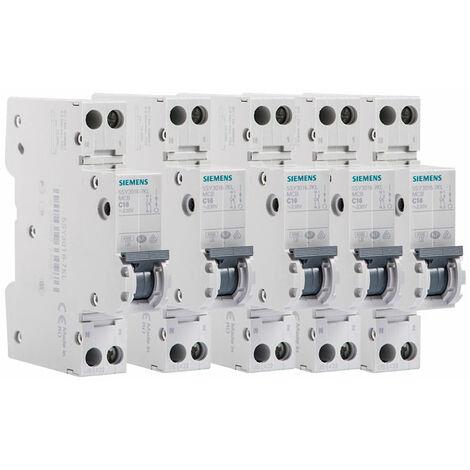 Lot de 5 Disjoncteurs électriques phase + neutre 16A - SIEMENS