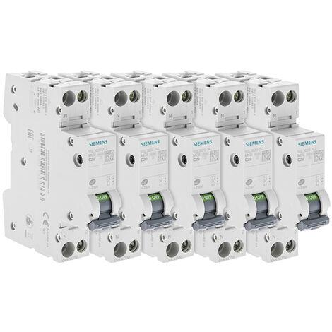Lot de 5 Disjoncteurs électriques phase + neutre 20A - SIEMENS
