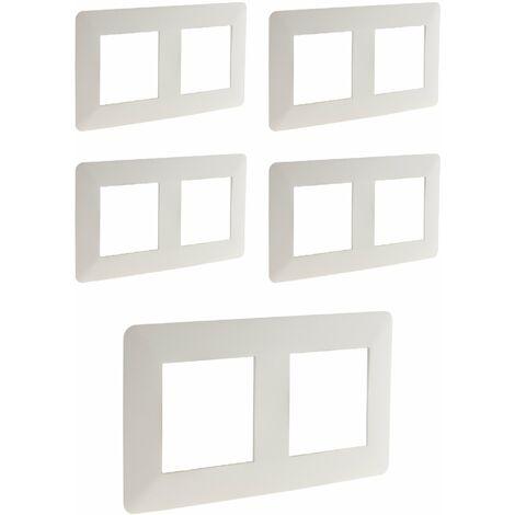 Lot de 5 doubles plaques de finition horizontales blanches - Artezo