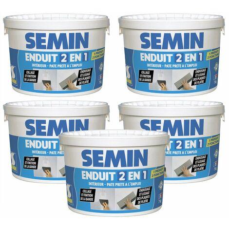 Lot de 5 enduits 2 en 1 multifonctions Semin - joint et lissage de la plaque de plâtre - intérieur - seau de 7 kg