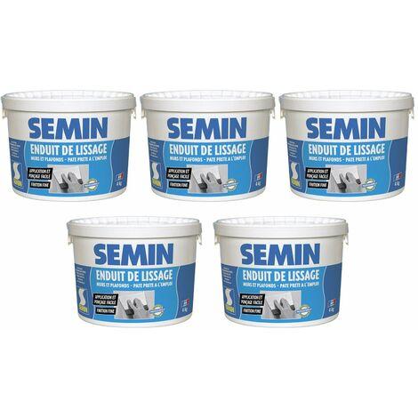 Lot de 5 enduits de lissage en pâte pour murs et plafonds Semin - intérieur - Seau de 4 kg