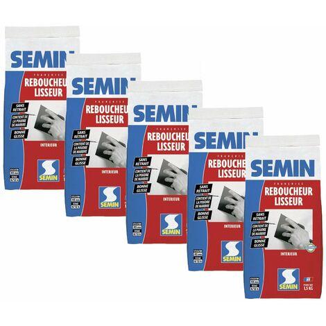 Lot de 5 enduits de rebouchage et lissage en poudre Reboucheur Semin - séchage rapide - intérieur - sac de 1,5 kg