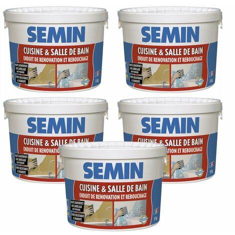 Lot de 5 enduits de rebouchage et rénovation spécial cuisine et salle de bain Semin - adapté aux pièces humides - seau de 5 kg