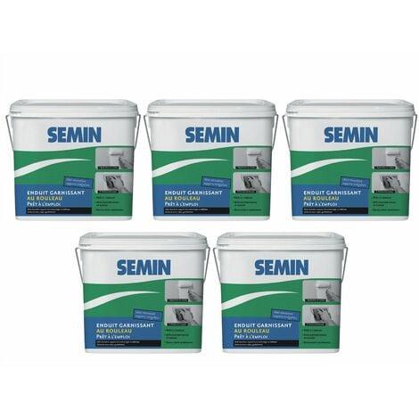 Lot de 5 enduits garnissant au rouleau pour la rénovation des supports très endommagés Semin - intérieur - seau de 10 kg