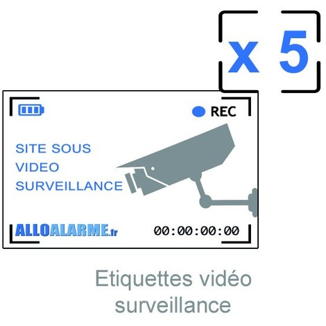 Lot de 5 étiquettes adhésives vidéosurveillances