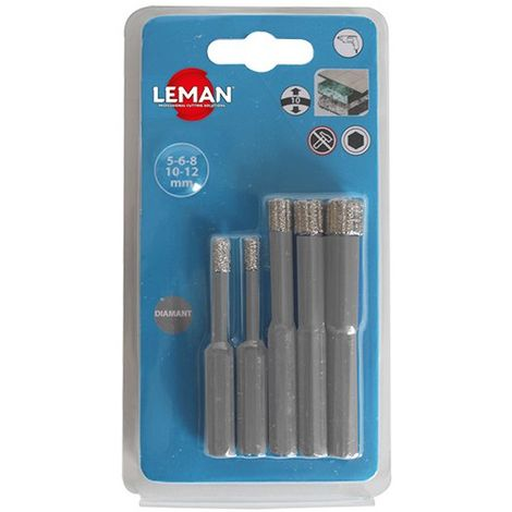 Lot de 5 forets diamantés grès cérame D. 5 / 6 / 8 / 10 / 12 mm à eau - 6500.05 - Leman