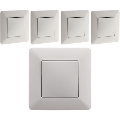 Lot de 5 interrupteurs Va & Vient 10A Blanc - Artezo
