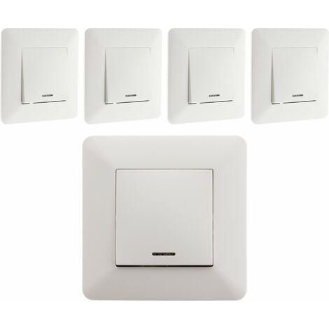 Lot de 5 interrupteurs Va & Vient à voyant 10A Blanc - Artezo