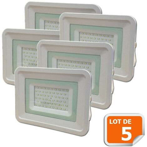 Lot de 5 LED Projecteur Lampe 50W Blanc 6000K IP65 Extra Plat