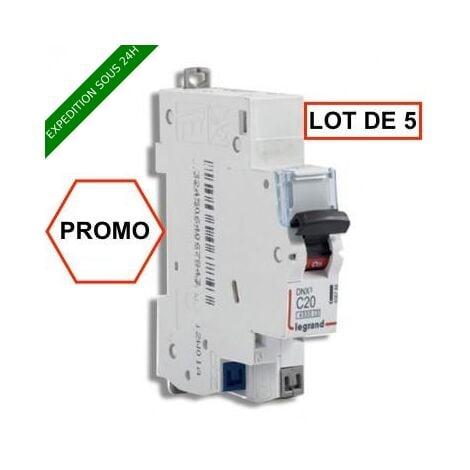 LOT DE 5 // LEGRAND DNX3 Disjoncteur 20A auto PH+N courbe C 4.5kA 230V - 406784