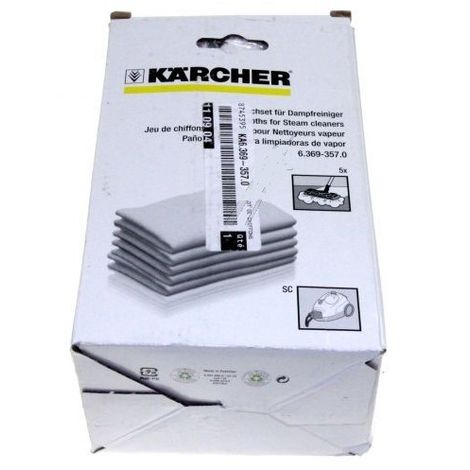 LOT DE 5 LINGETTES POUR NETTOYEUR VAPEUR KARCHER