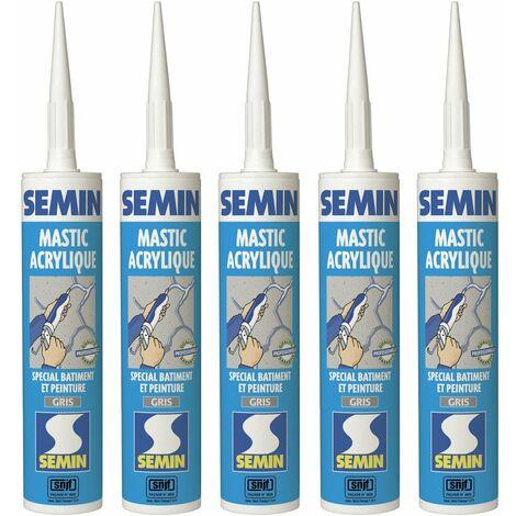 Lot de 5 mastics acrylique gris pour combler des fissures ou pour réaliser des liaisons entre différents éléments de maçonnerie Semin - intérieur/extérieur - cartouche de 310 ml