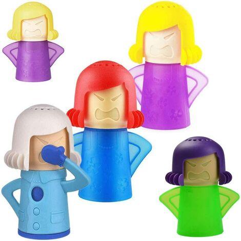 Lot de 5 nettoyants Angry Mama pour micro-ondes - Absorbeur d'odeurs pour réfrigérateur et congélateur - Action rapide - Nettoie et désinfecte à la vapeur pour la maison - Nettoie vapeur Couleur aléatoire