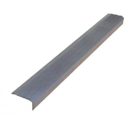 Lot de 5 nez de marches à visser en aluminium strié et coloré gris 100 cm