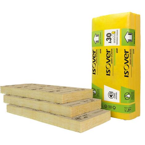 Lot de 5 panneaux de laine de verre GR 30 revêtu kraft 111 mm pour doublage des murs lambda 30 – 1,35*0,6m – R=3,70 m².K/W – ISOVER