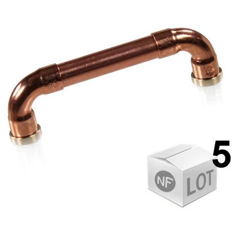 """Lot de 5 Poignées de meuble cuivre """"Industriel"""" - Entraxe 96mm Ø12 - Arcanaute"""