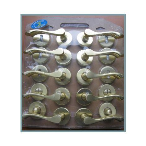 Lot de 5 poignées de porte intérieure design en zamak doré satiné sur rosace ronde, VICTORIE