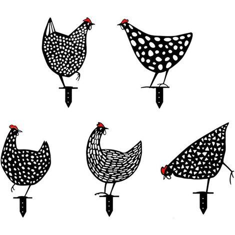 """main image of """"Lot de 5 poules réalistes - Décoration de jardin - Décoration en forme de poulet - Silhouette de cour - Pour pelouse, chemin, trottoir, jardin"""""""