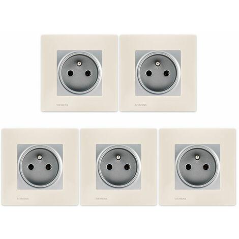 LOT de 5 Prises 2P+T Silver Delta Viva + Plaques Beige - SIEMENS