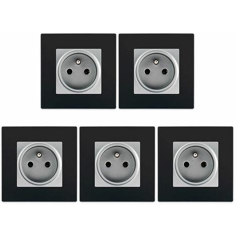 LOT de 5 Prises 2P+T Silver Delta Viva + Plaques Noir - SIEMENS
