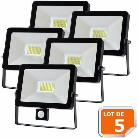 Lot de 5 Projecteur LED 30W Detecteur Mouvement Classic Noir 6000K