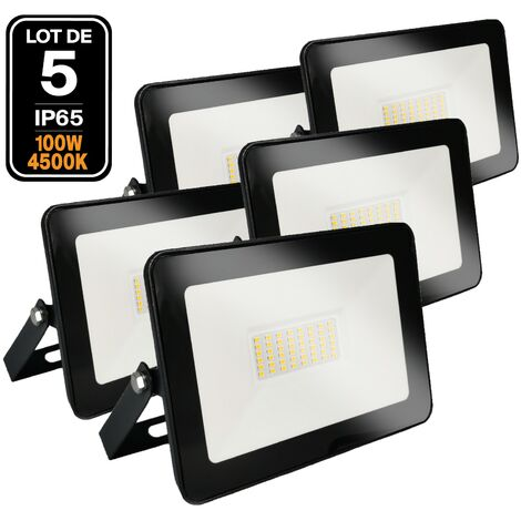 Lot de 5 Projecteurs LED 100W Ipad 4500K Haute Luminosité - LOT5FL1811