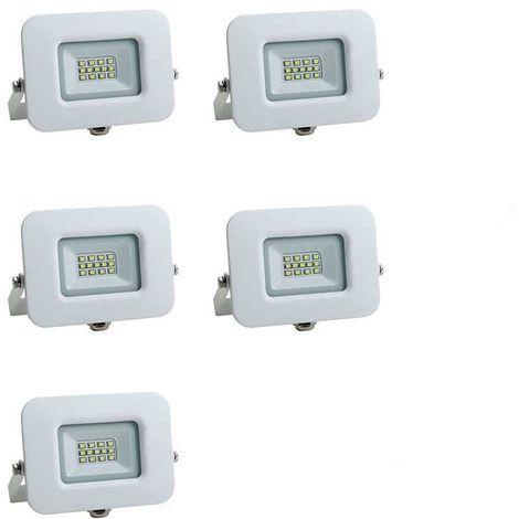 Lot de 5 Projecteurs LED 10W (60W) Blanc Premium Line IP65 850 lumens Optonica