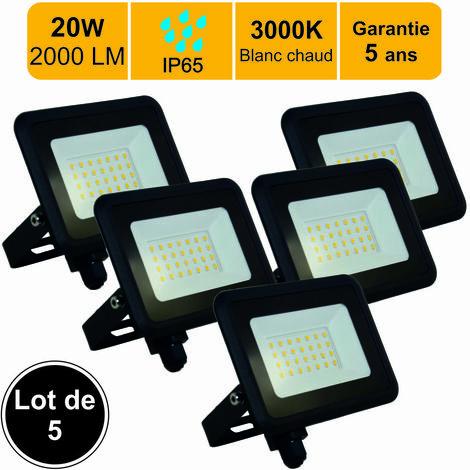 Lot de 5 projecteurs LED 20W 1700 LM Blanc chaud (3000K) IP65- garantie 5 ans - Connexion en direct
