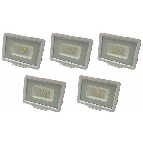Lot de 5 Projecteurs LED Blancs 10W (50W) Étanche IP65 800lm - Blanc Naturel 4500K
