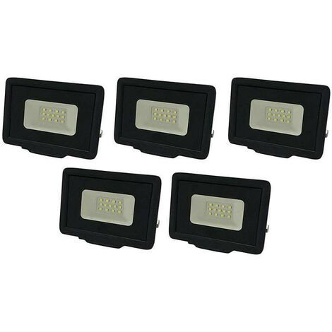 Lot de 5 Projecteurs LED Noirs 10W (50W) Étanche IP65 800lm - Blanc Naturel 4500K