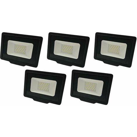 Lot de 5 Projecteurs LED Noirs 30W (200W) Étanche IP65 2400lm - Blanc Naturel 4500K