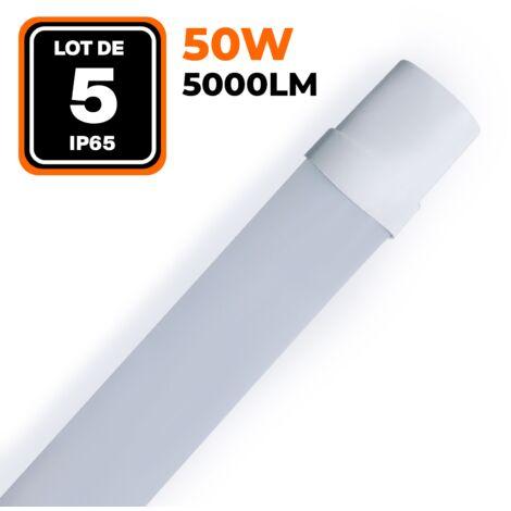 LOT DE 5 RÉGLETTES LED 50W 5000LM 60CM ÉTANCHE IP65
