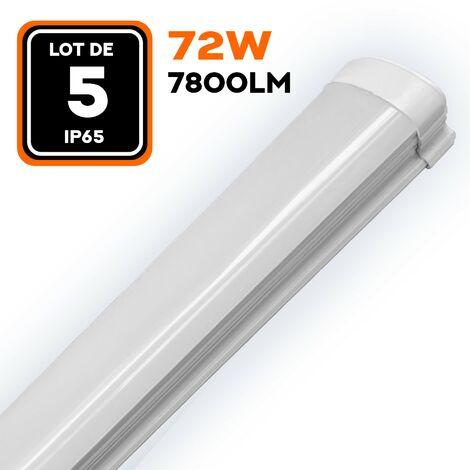 LOT DE 5 RÉGLETTES LED 80W 8000LM 120CM ÉTANCHE IP65