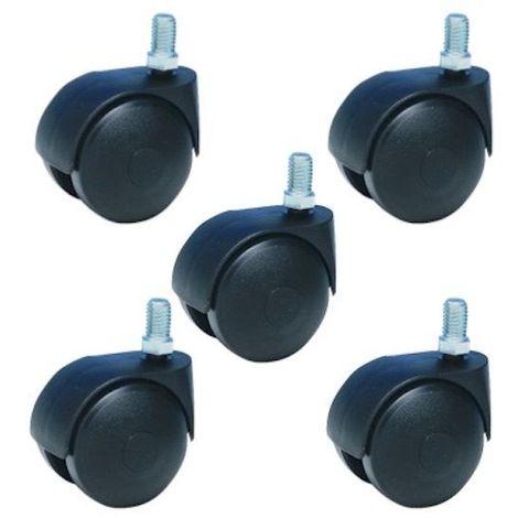 Lot de 5 roulettes pivotantes noir fauteuil de bureau 50 mm filetage 8x15 mm