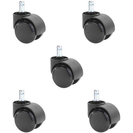 Lot de 5 roulettes pour chaise de bureau, en plastique de coloris noir, diamètre 50 mm et tige de 11 mm, à utiliser sur sol dur